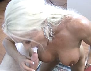 Female bodybuilder and ripped muscle porn star Ashlee Chambers gives a blow job, a hand job and a calf job, then puts his big, hard cock between her powerful pecs as she masturbates him, using her vascular biceps and getting his cum on her naked body  while you watch in close-up.