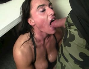 Female muscle porn star Whitney is giving her man a blow job and a hand job, masturbating him until he cums all over her pecs, biceps, and face, and she licks it off. Watch the female muscle sex in close-up.